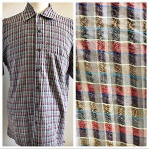 Gran Sasso Mens Button Front Shirt Cotton Large L
